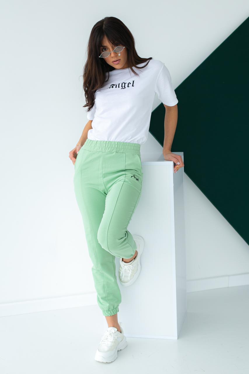 Спортивный костюм футболка и штаны на манжетах  Crep - мятный цвет
