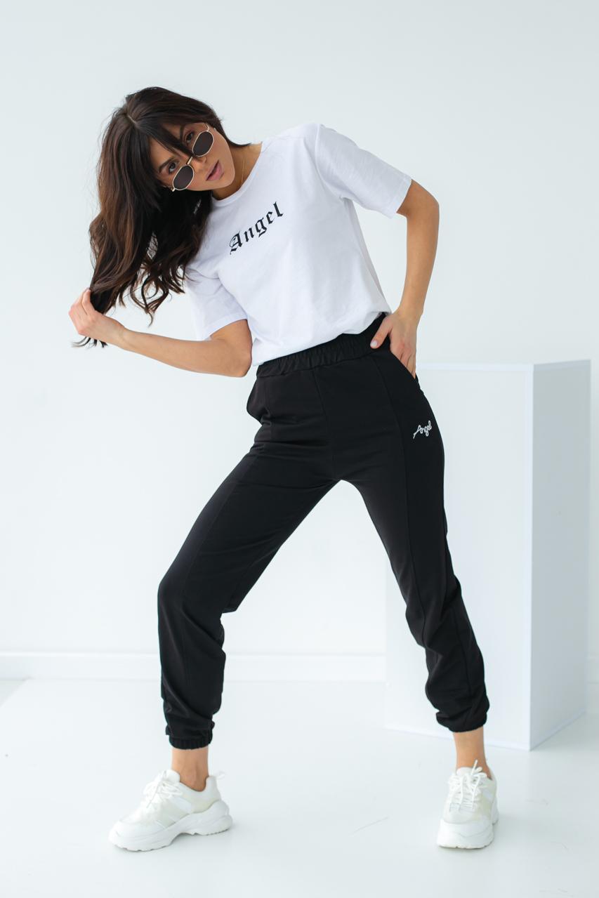 Спортивный костюм футболка и штаны на манжетах  Crep - черный цвет