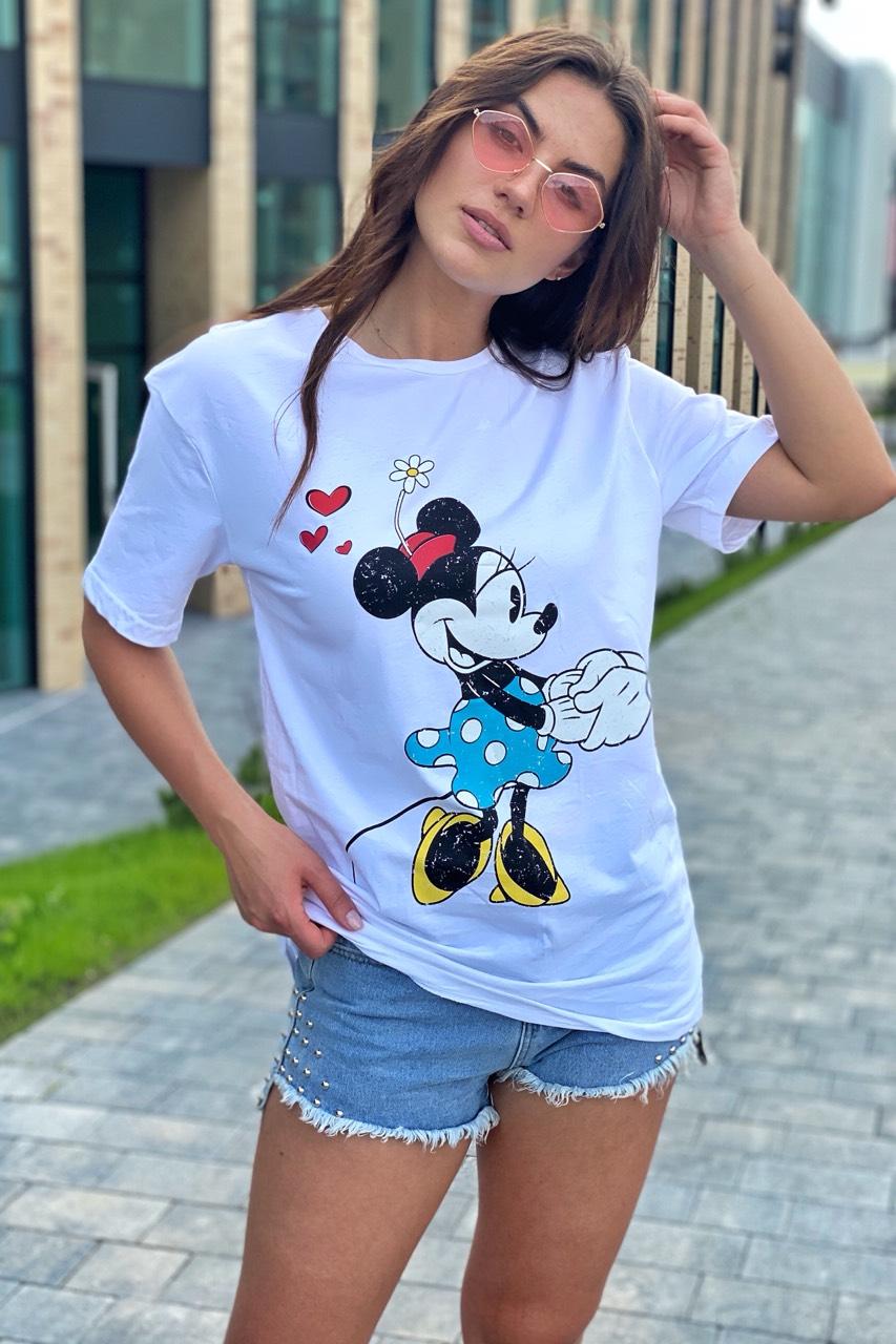 Модная женская футболка с принтом Минни Маус TITUS - белый цвет