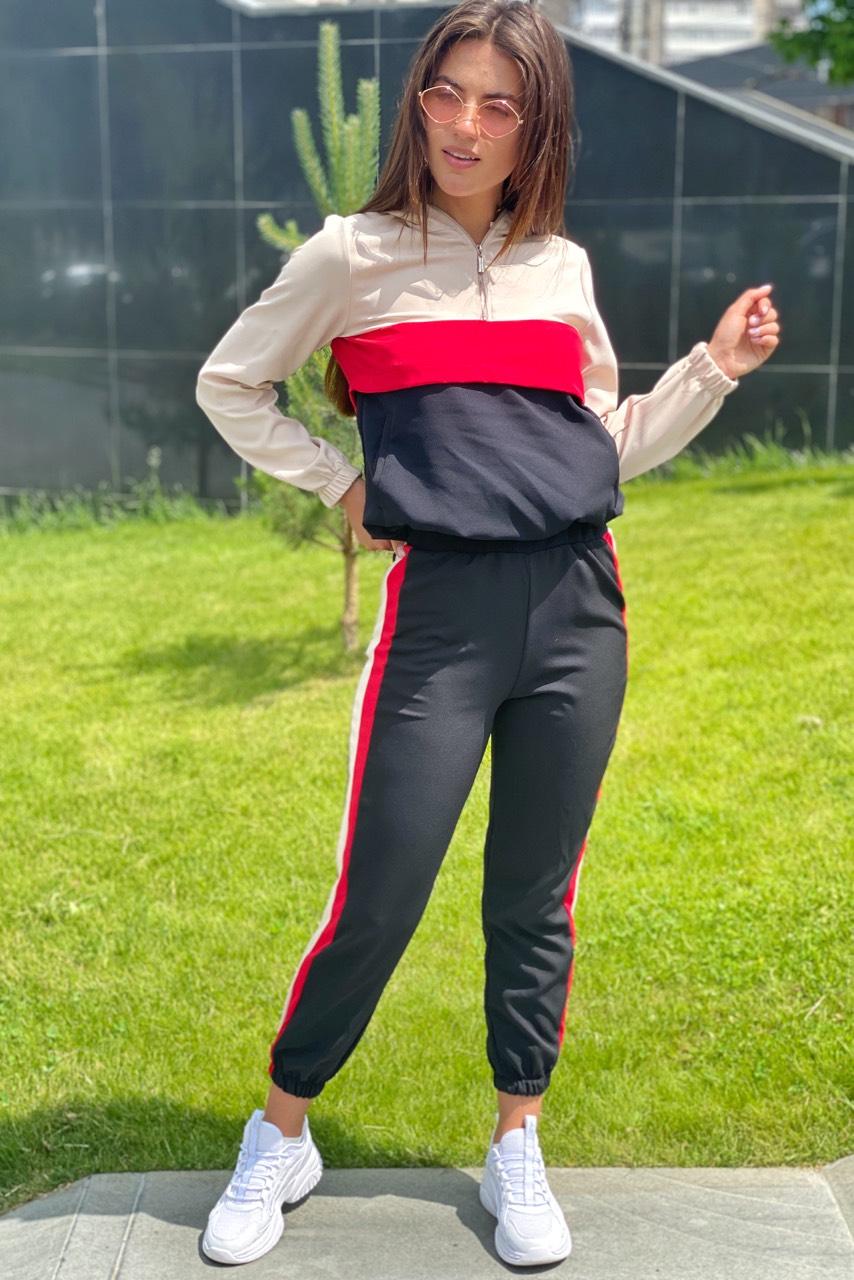 Трендовый спортивный костюм худи и джогеры  YARE - бежевый цвет