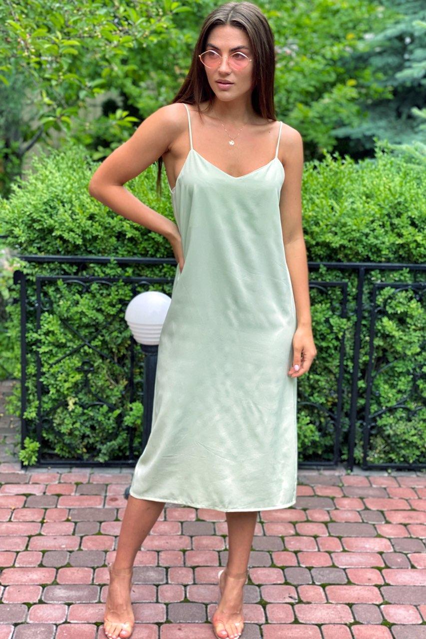 Платье-комбинация длины миди на тонких бретелях  Vistyle - мятный цвет