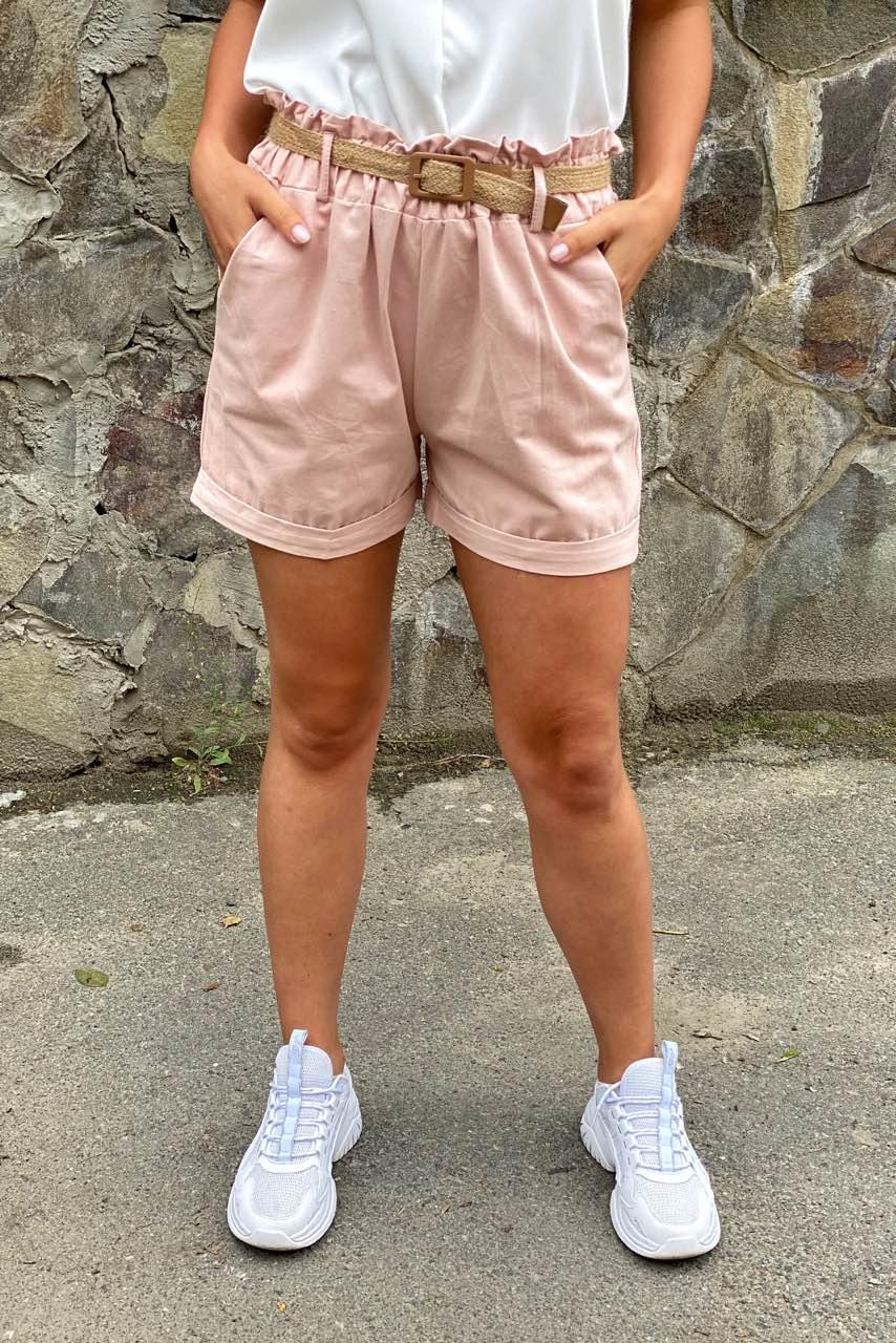 Жіночі літні шорти з плетеним поясом YJX - пудра колір
