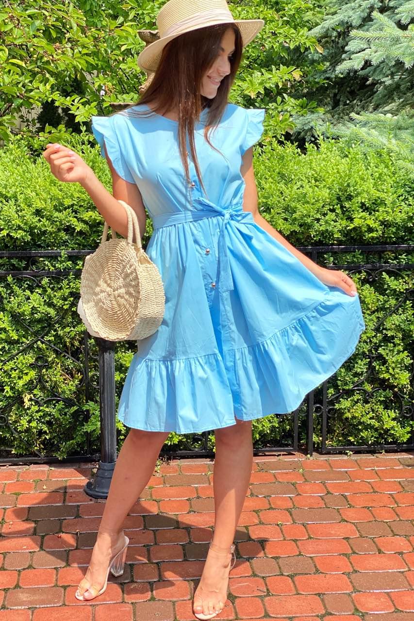 Красивое летнее платье с пояском  LUREX - голубой цвет