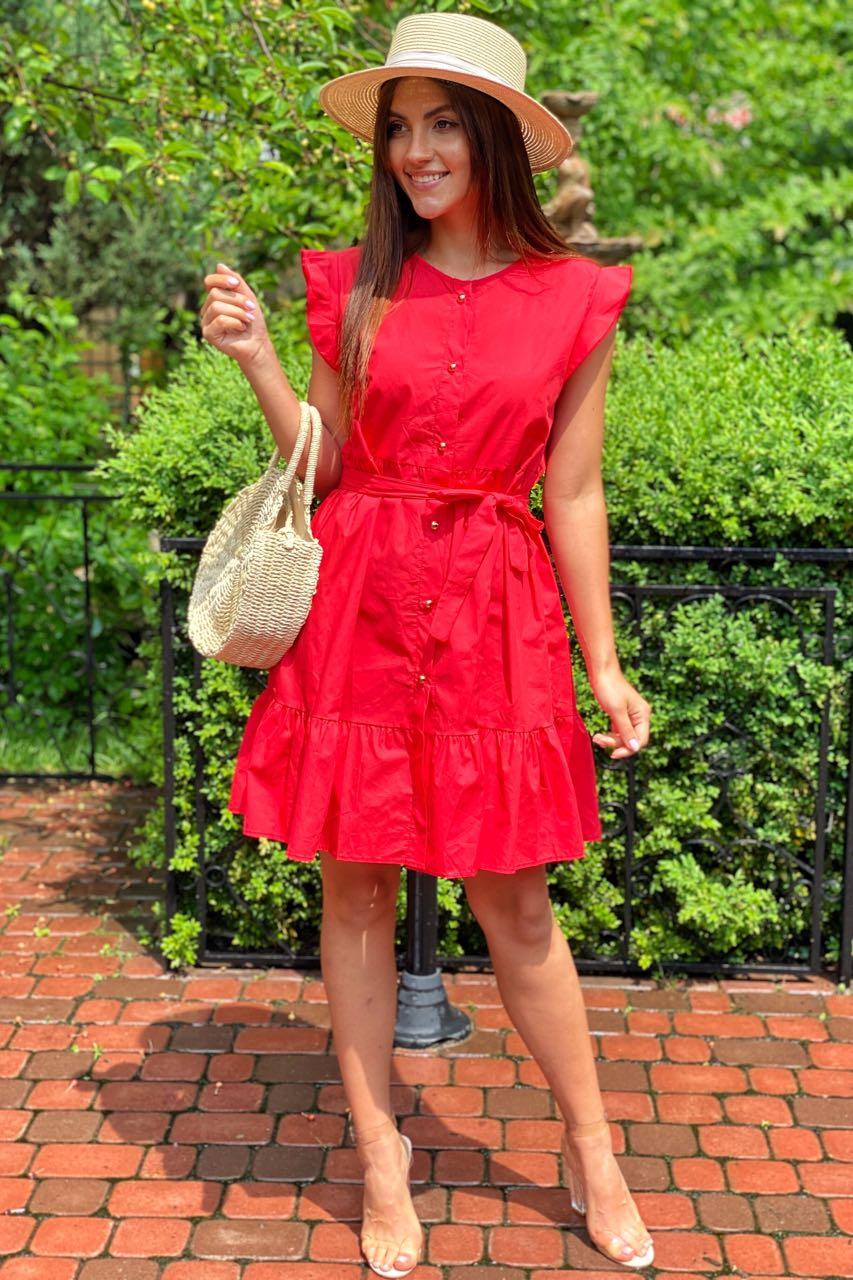 Красивое летнее платье с пояском  LUREX - красный цвет