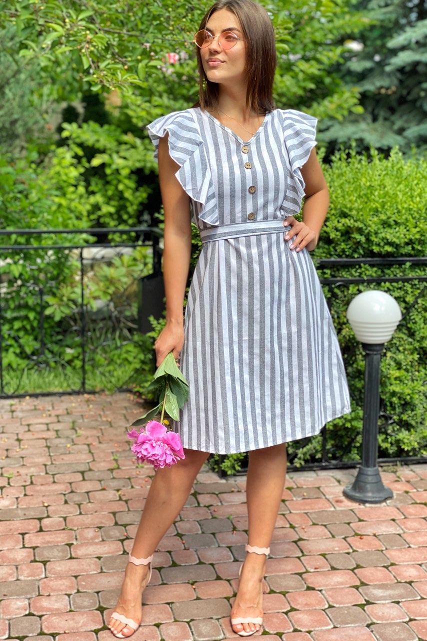 Платье миди с рюшами на плечах  LUREX - серый цвет