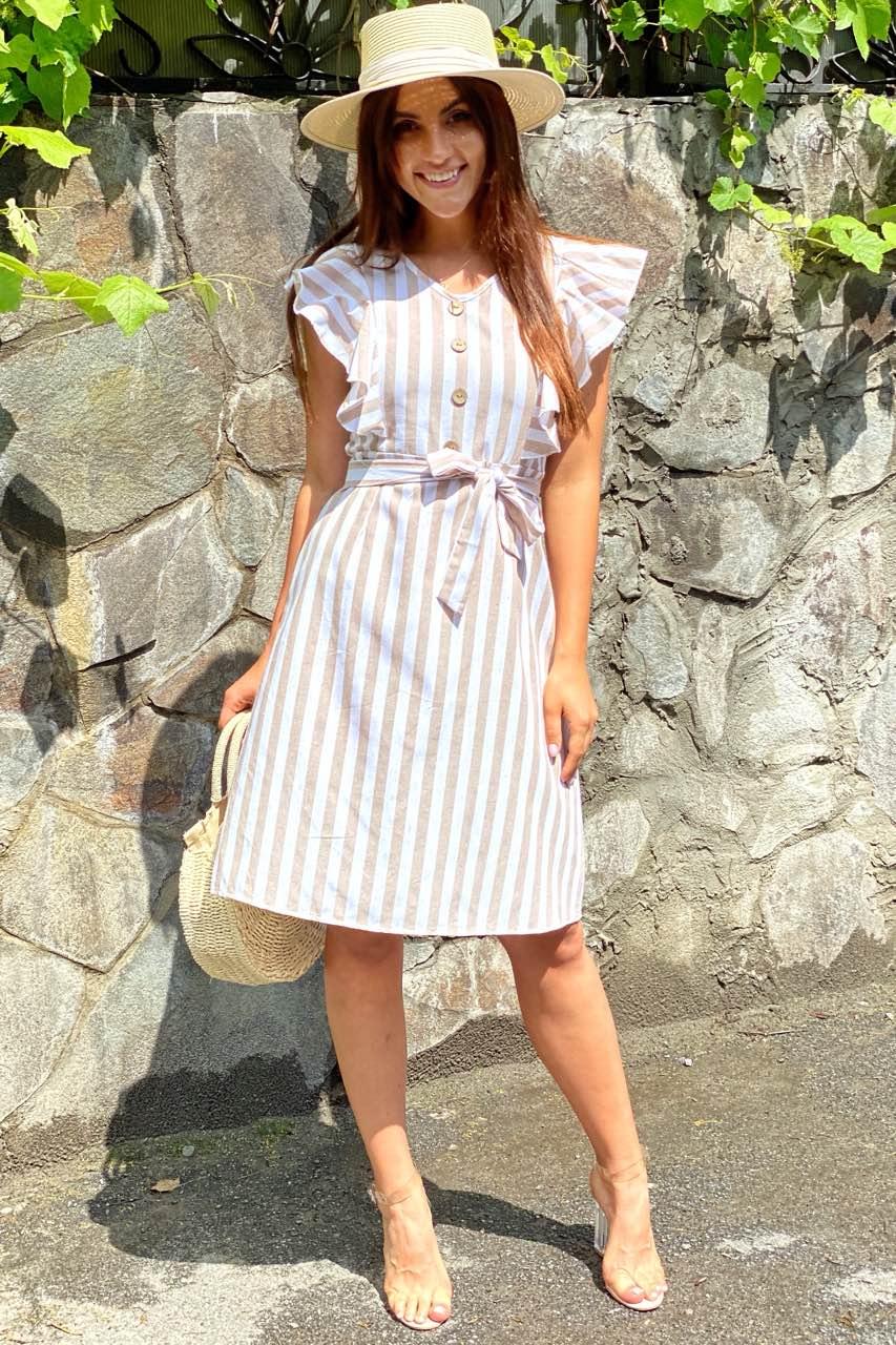 Платье миди с рюшами на плечах  LUREX - бежевый цвет