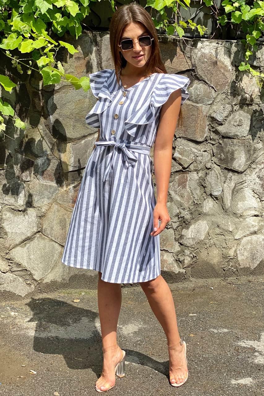 Сукня міді з рюшами на плечах LUREX - чорний колір