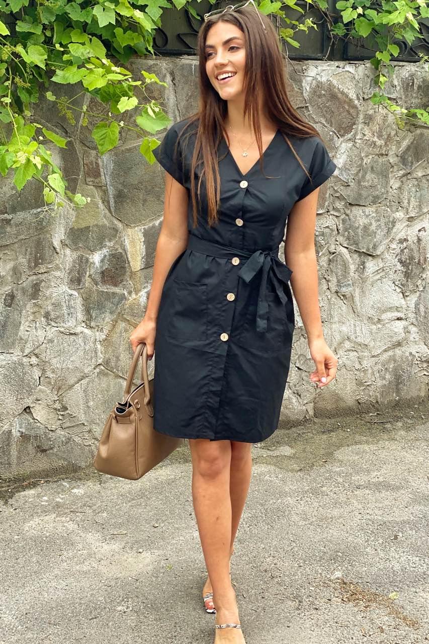 Платье-сарафан летнее на пуговицах  LUREX - черный цвет
