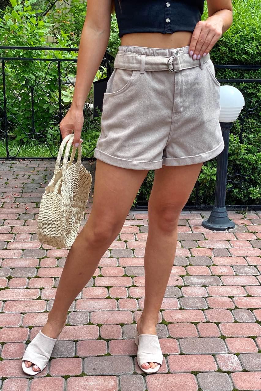 Шорты женские короткие с высокой талией  Busem - бежевый цвет