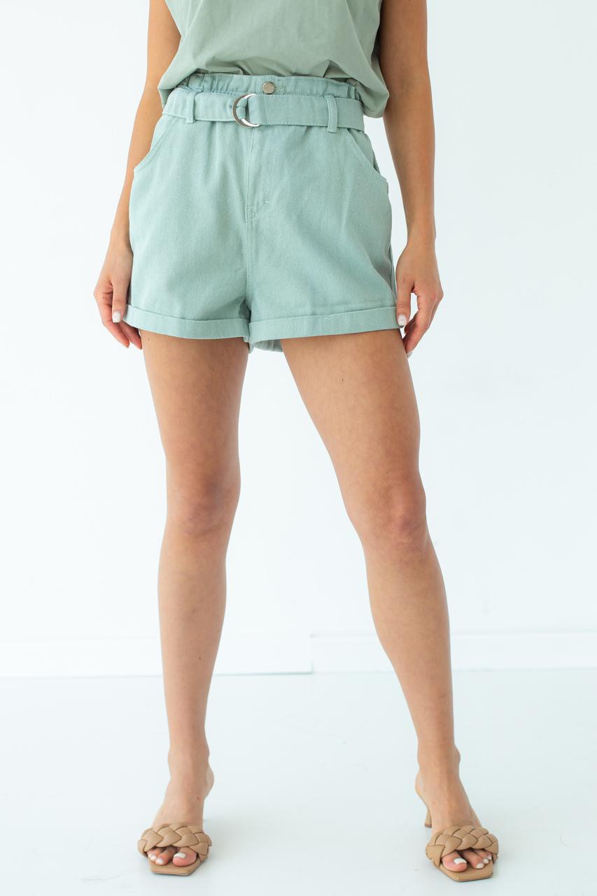 Шорты женские короткие с высокой талией  Busem - мятный цвет