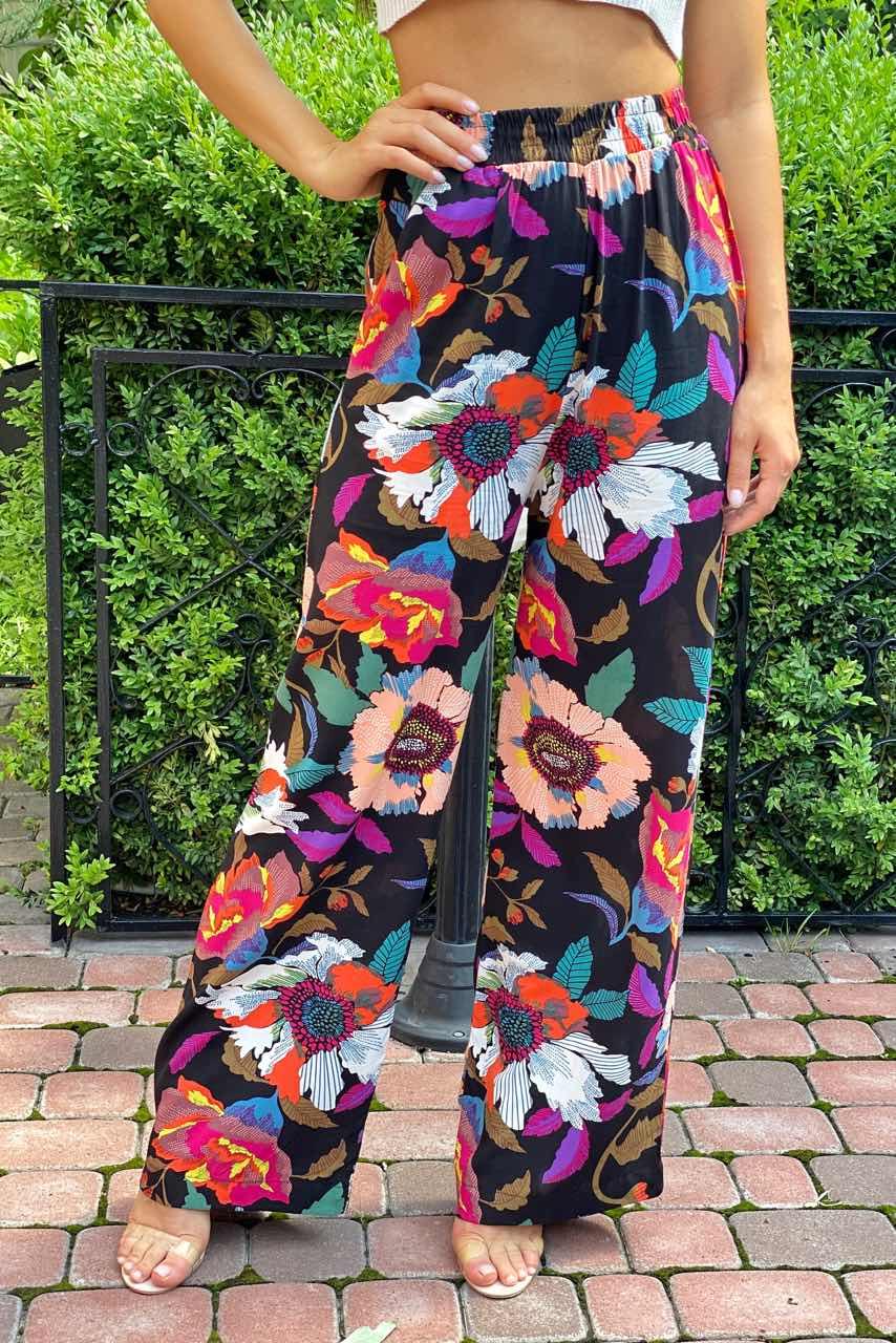 Летние брюки женские палаццо  Crep - черный цвет
