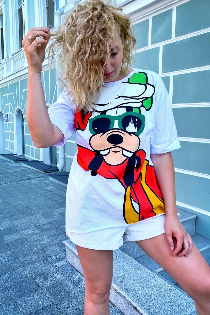 Модная футболка женская с принтом Гуффи  LUREX - белый цвет