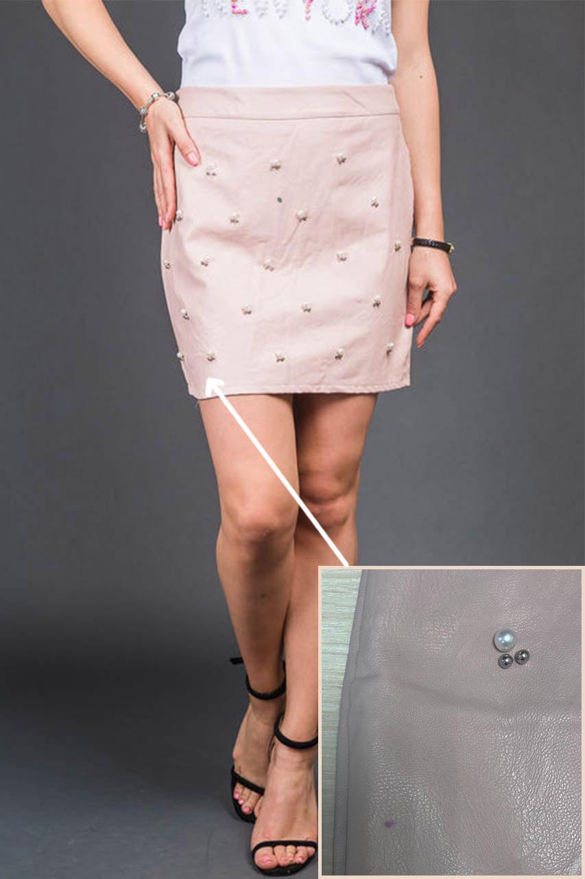 Стильная юбка с бусинами и изъяном LUREX - пудра цвет