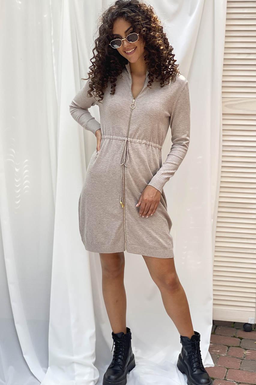 Стильное платье с молнией и длинным рукавом ebelieve - бежевый цвет