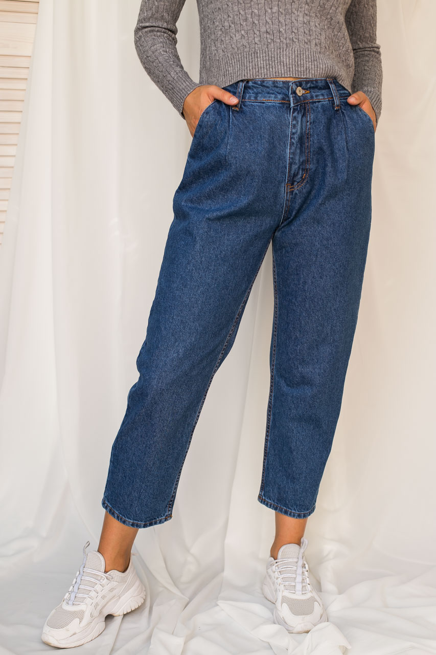 Джинси банани з защипами LUREX - колір джинс