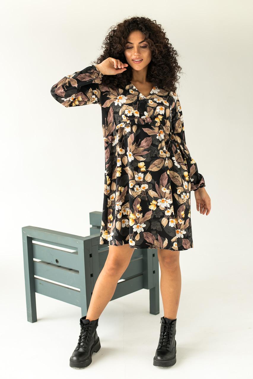 Нежное платье в крупный цветочный принт LUREX - черный цвет