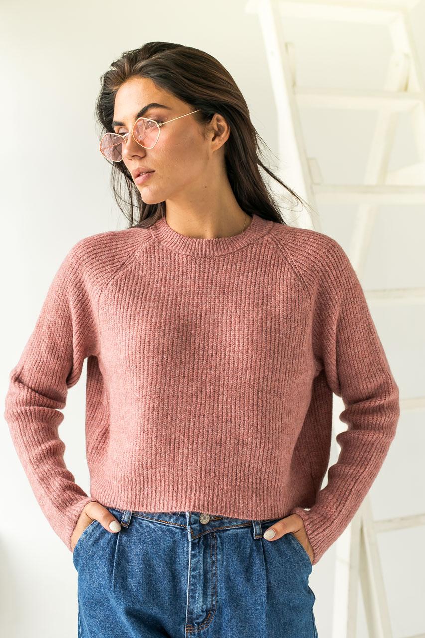 Модный кроп-свитшот реглан Figo - розовый цвет