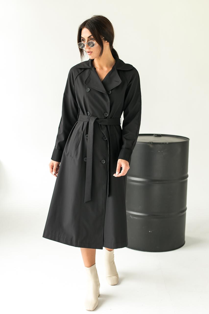 Модний плащ жіночий тренчкот Loreen - чорний колір