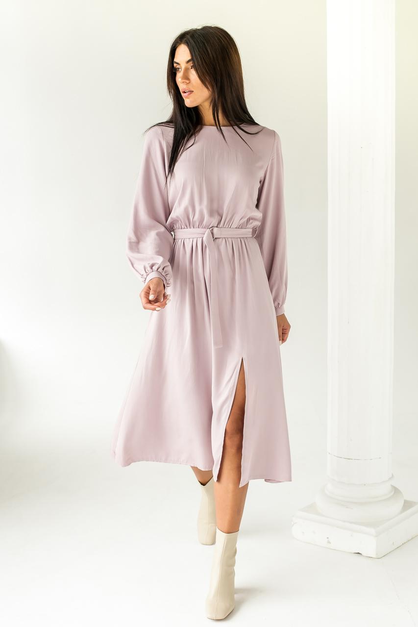 Элегантное платье однотонное с пояссом  LUREX - розовый цвет