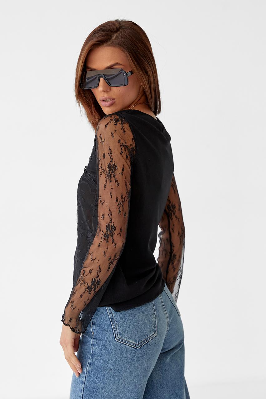 Элегантная блуза из тонкого кружева Hello Kiss! - черный цвет