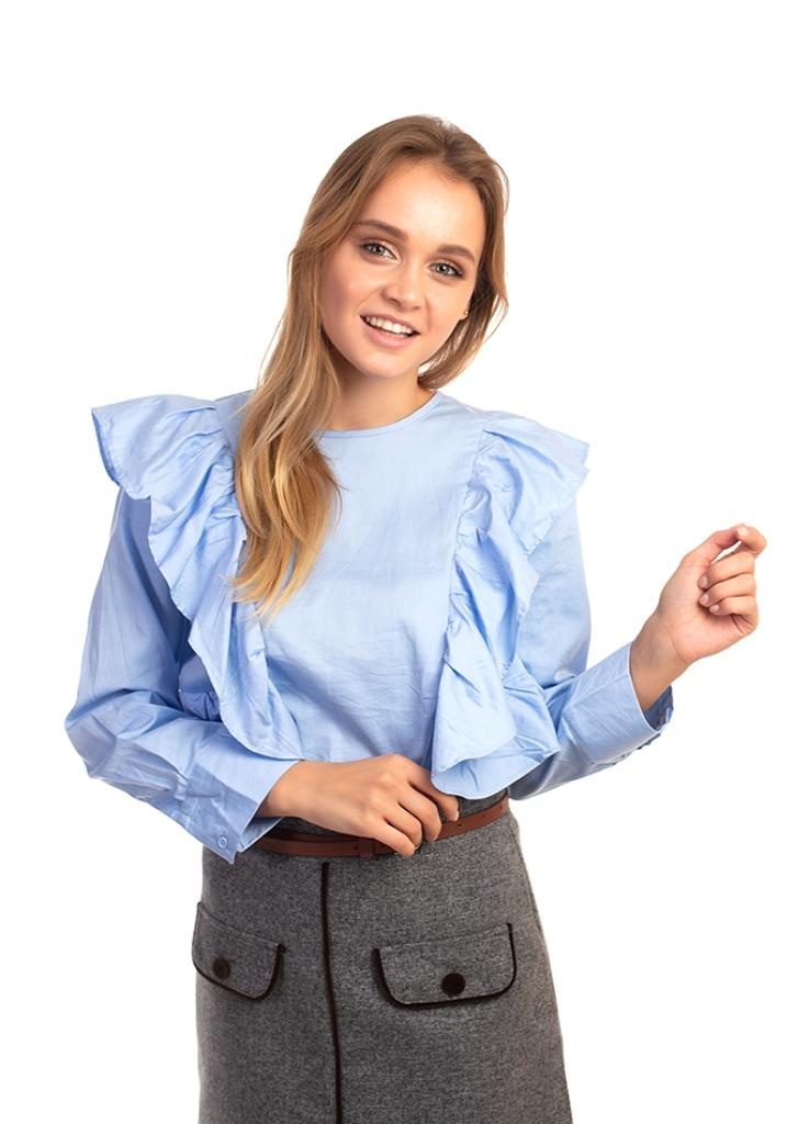 Элегантная блуза с рюшами Bel Mode - голубой цвет
