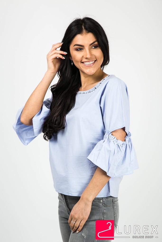 Романтическая блуза с рукавами-рюшами EVIS - голубой цвет