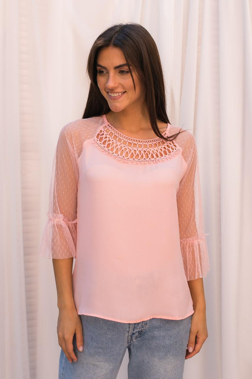 Шифоновая блуза с рукавами из фатина Hello Kiss! - розовый цвет