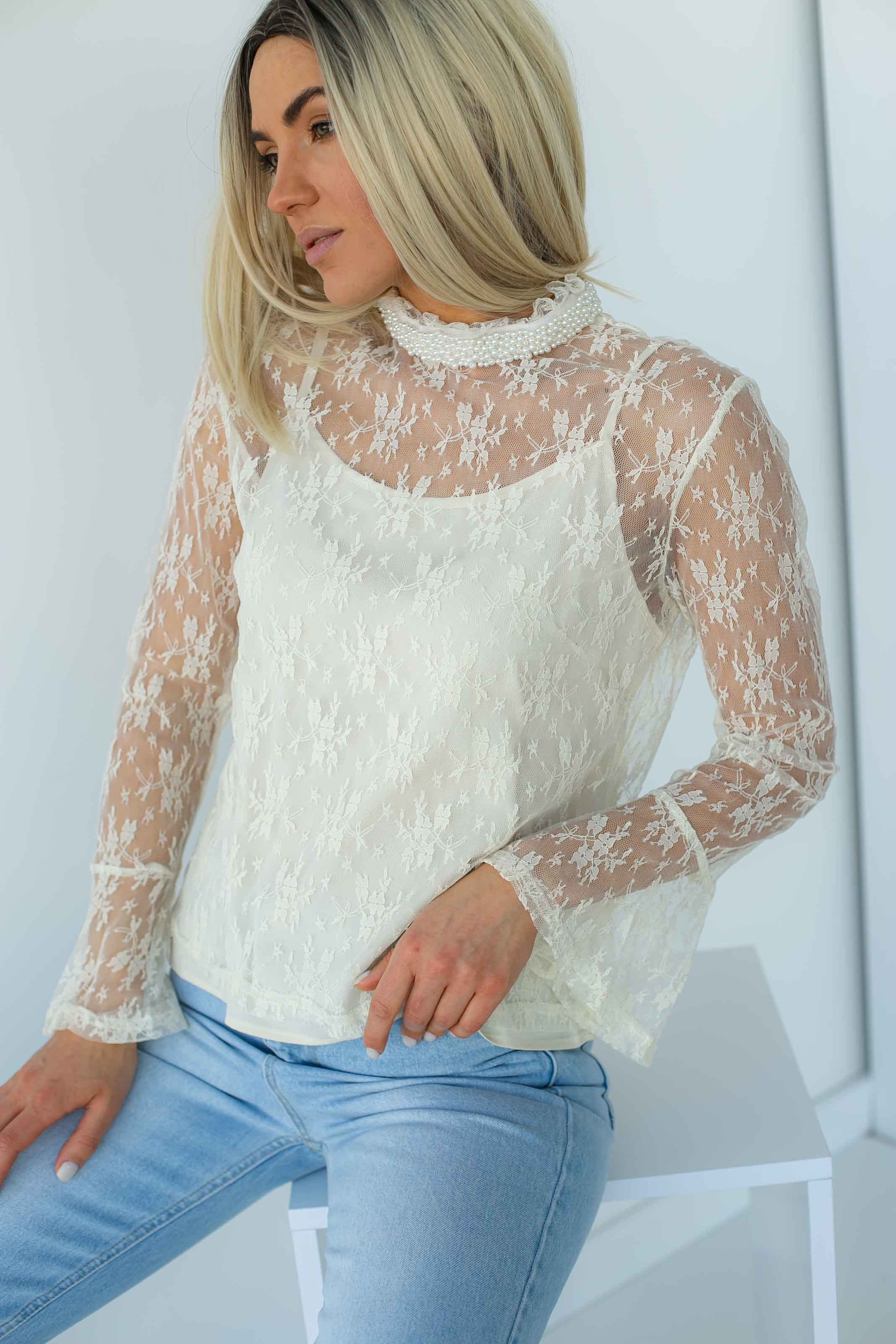 Кружевная блуза в стиле ампир Paccio - кремовый цвет
