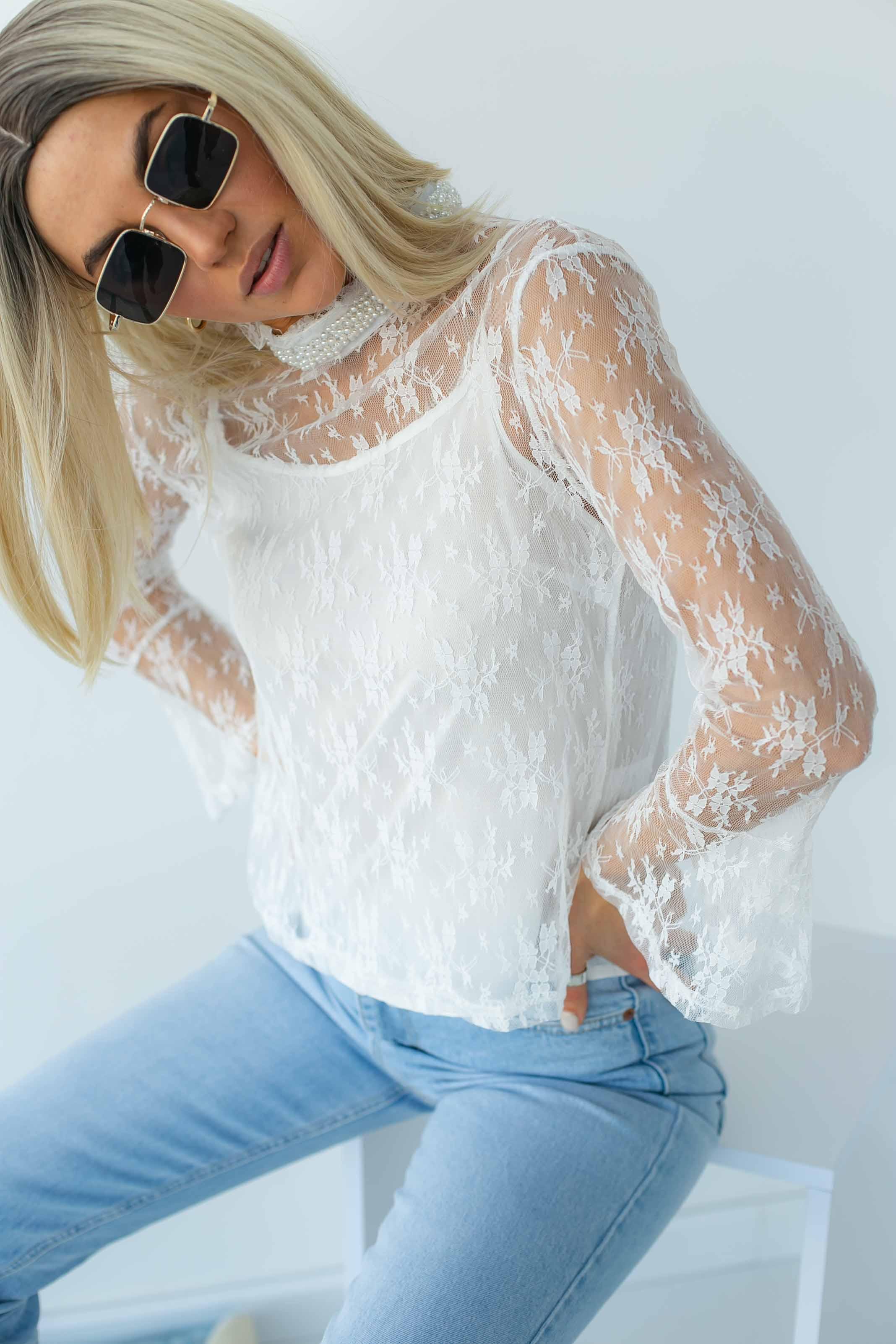 Кружевная блуза в стиле ампир Paccio - белый цвет