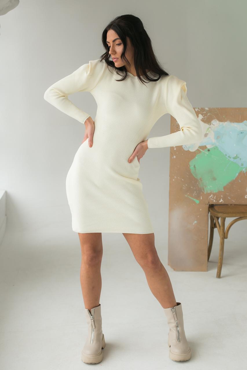 Облегающее платье с объемными рукавами Elishe - молочный цвет