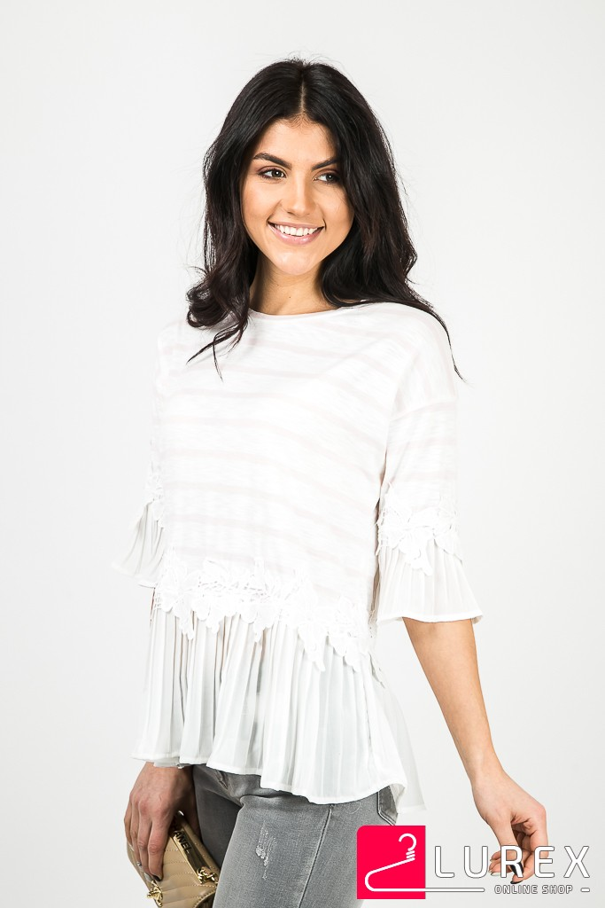 Блуза в полоску с шифоновыми рукавами MsV - пудра цвет