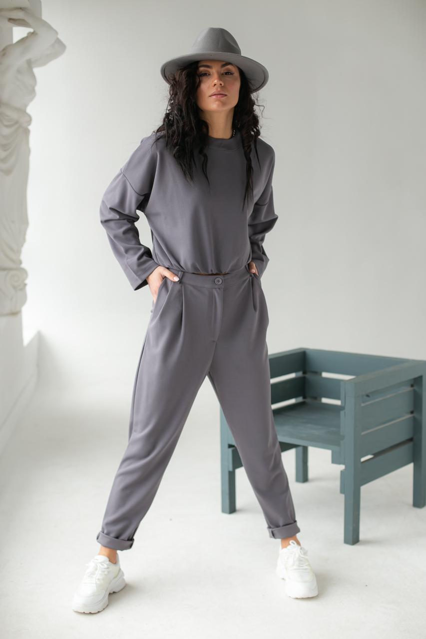 Лаконичный костюм-двойка Etica - серый цвет