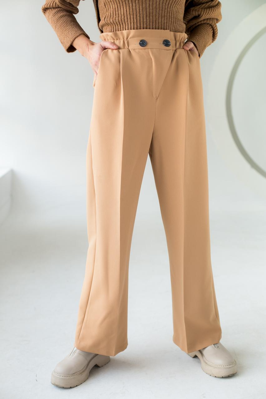 Свободные брюки прямого кроя на резинке PERRY - св-коричн цвет