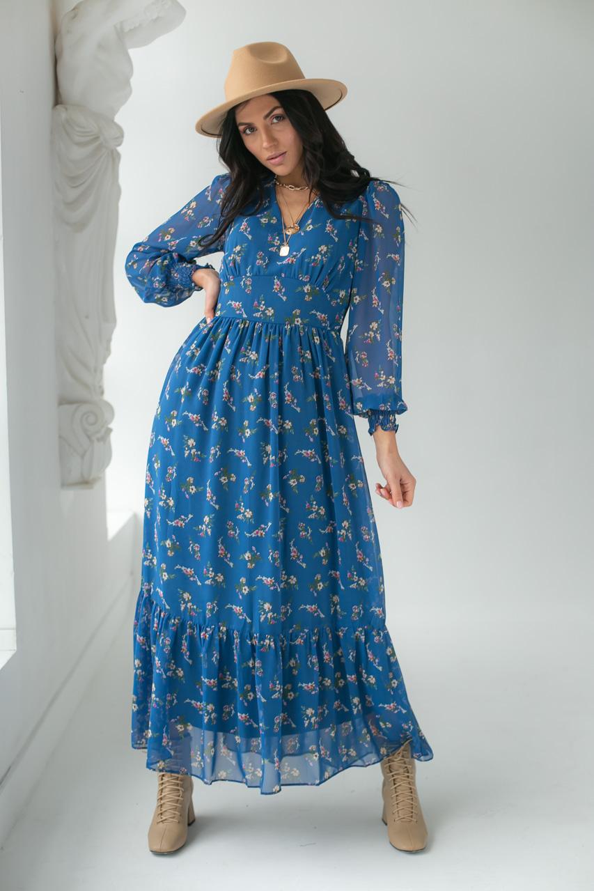 Шифоновое платье с цветочным принтом KAKTUS - синий цвет