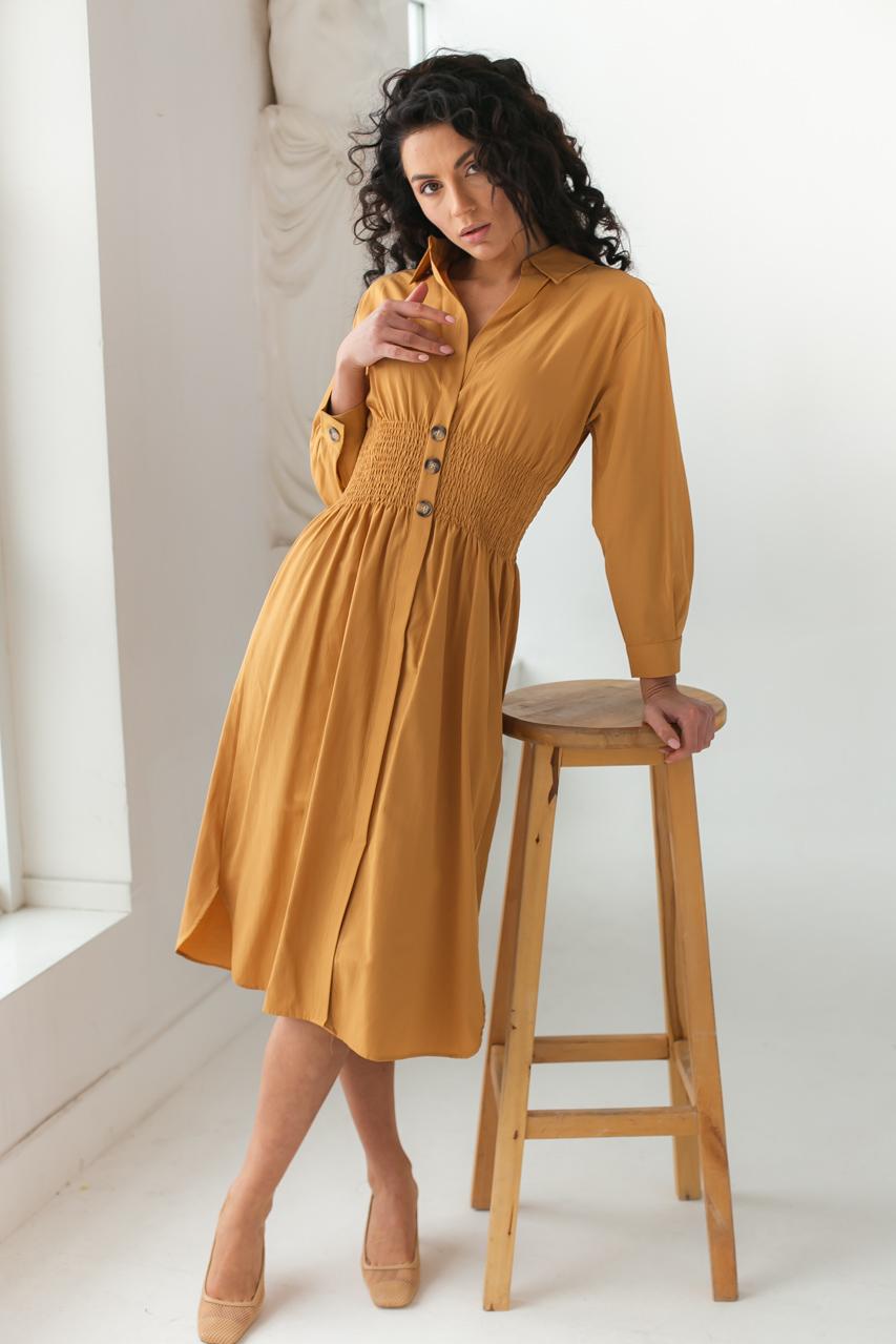 Сукня з вафельної гумкою по талії Barley - св-коричн колір