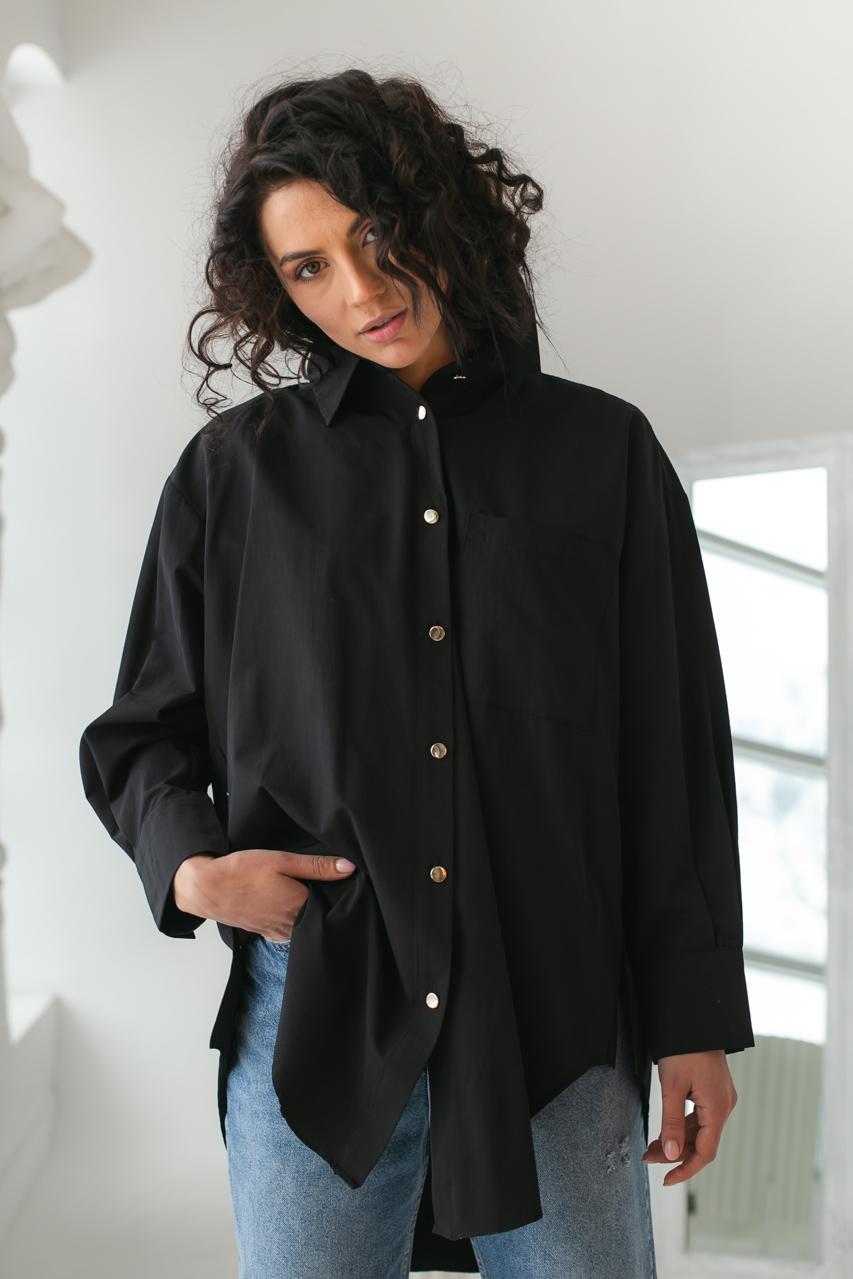 Женская рубашка с металлическими пуговицами Clew - черный цвет