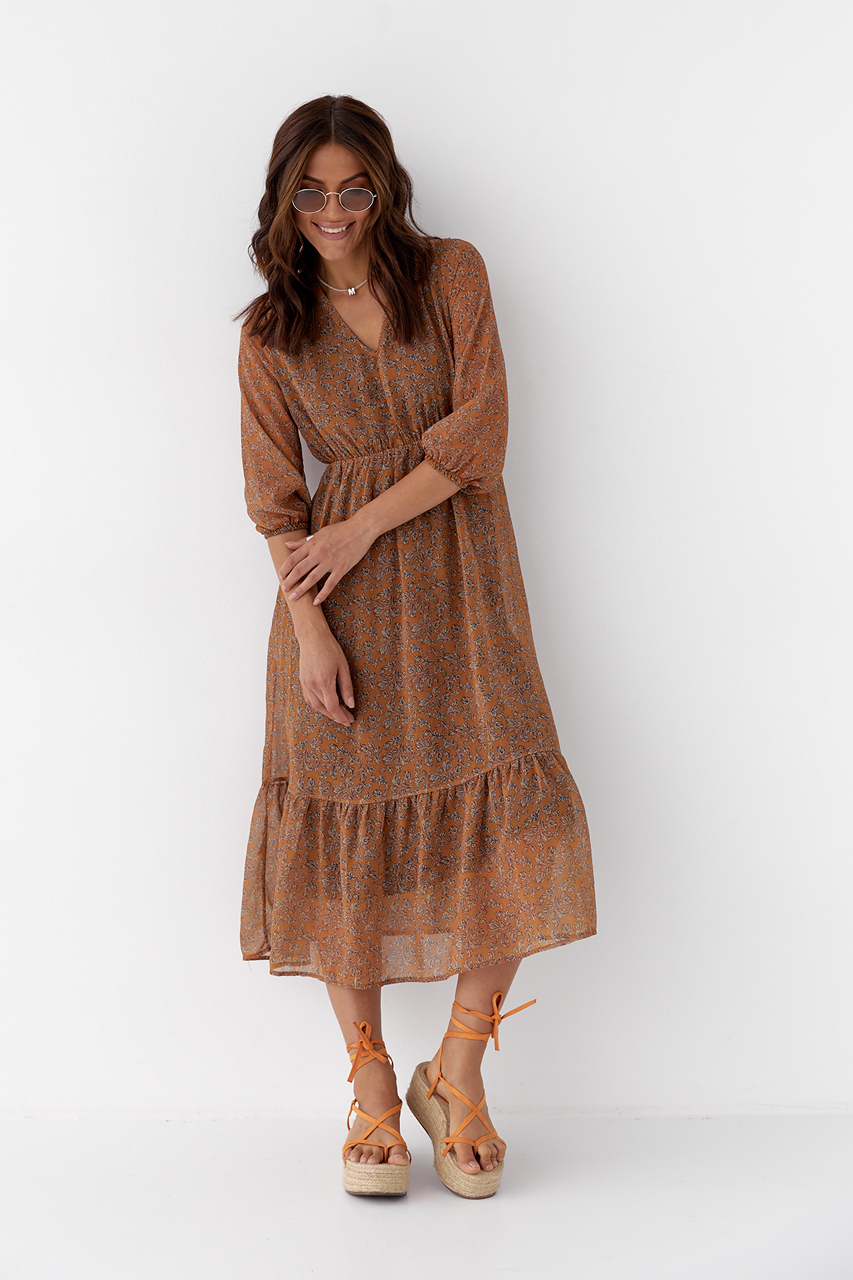 Шифоновое платье на резинке с воланом Clew - горчичный цвет