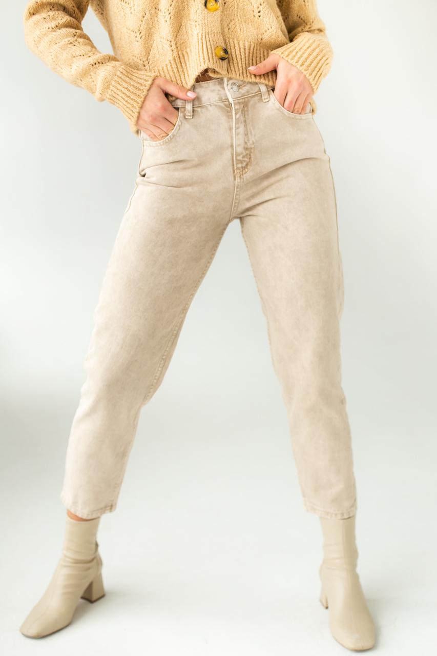 Котонові джинси мом PERRY - бежевий колір