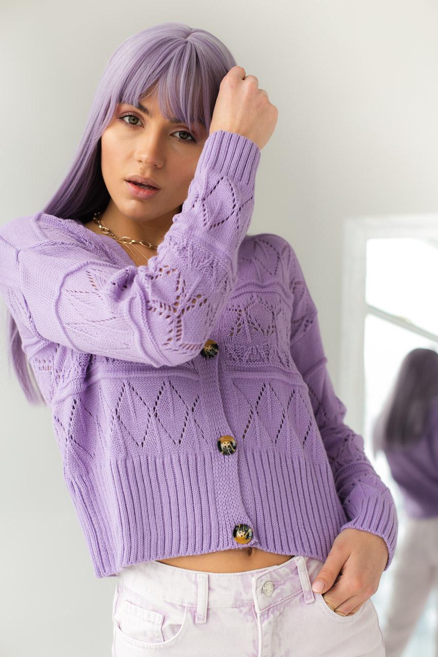Кардиган с узором ромбы на пуговицах  VOLUMEX - фиолетовый цвет