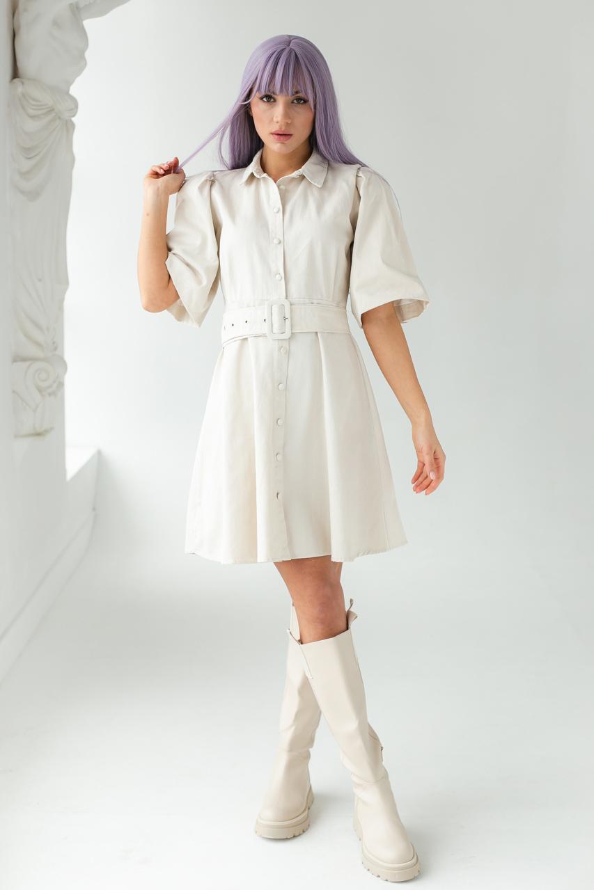 Котоновое платье с рукавами-фонариками и поясом PERRY - бежевый цвет