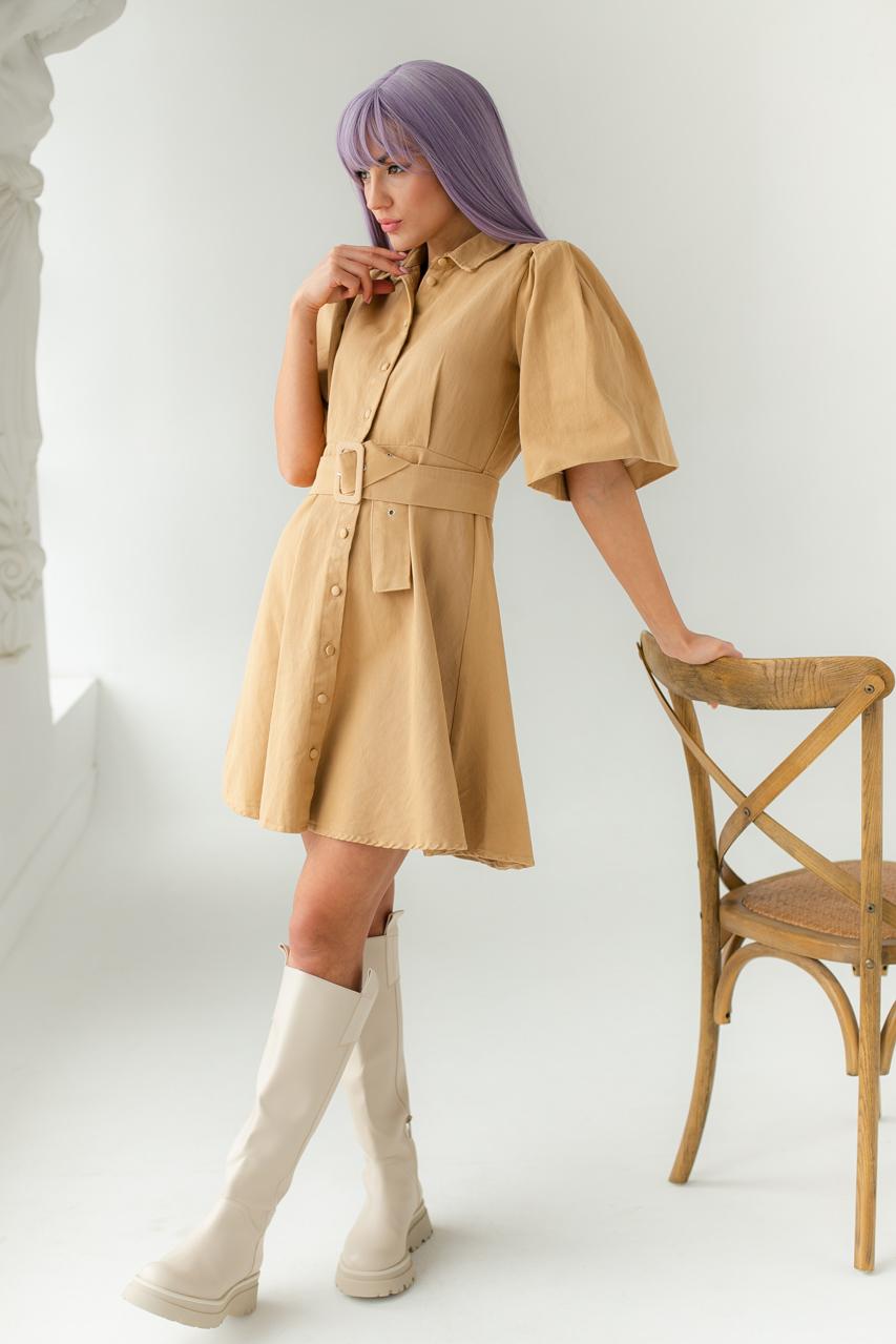 Котоновое платье с рукавами-фонариками и поясом PERRY - горчичный цвет