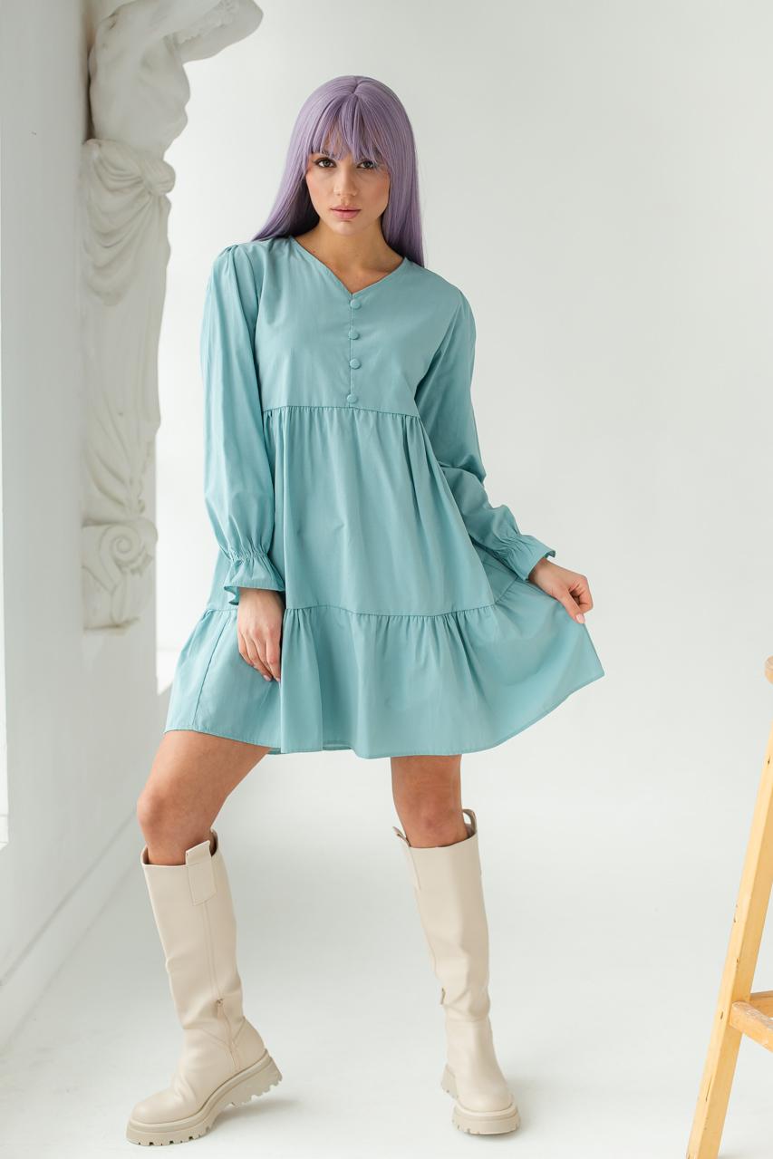 Платье свободного силуэта с длинным рукавом  и оборкой по низу GULSELI - бирюзовый цвет