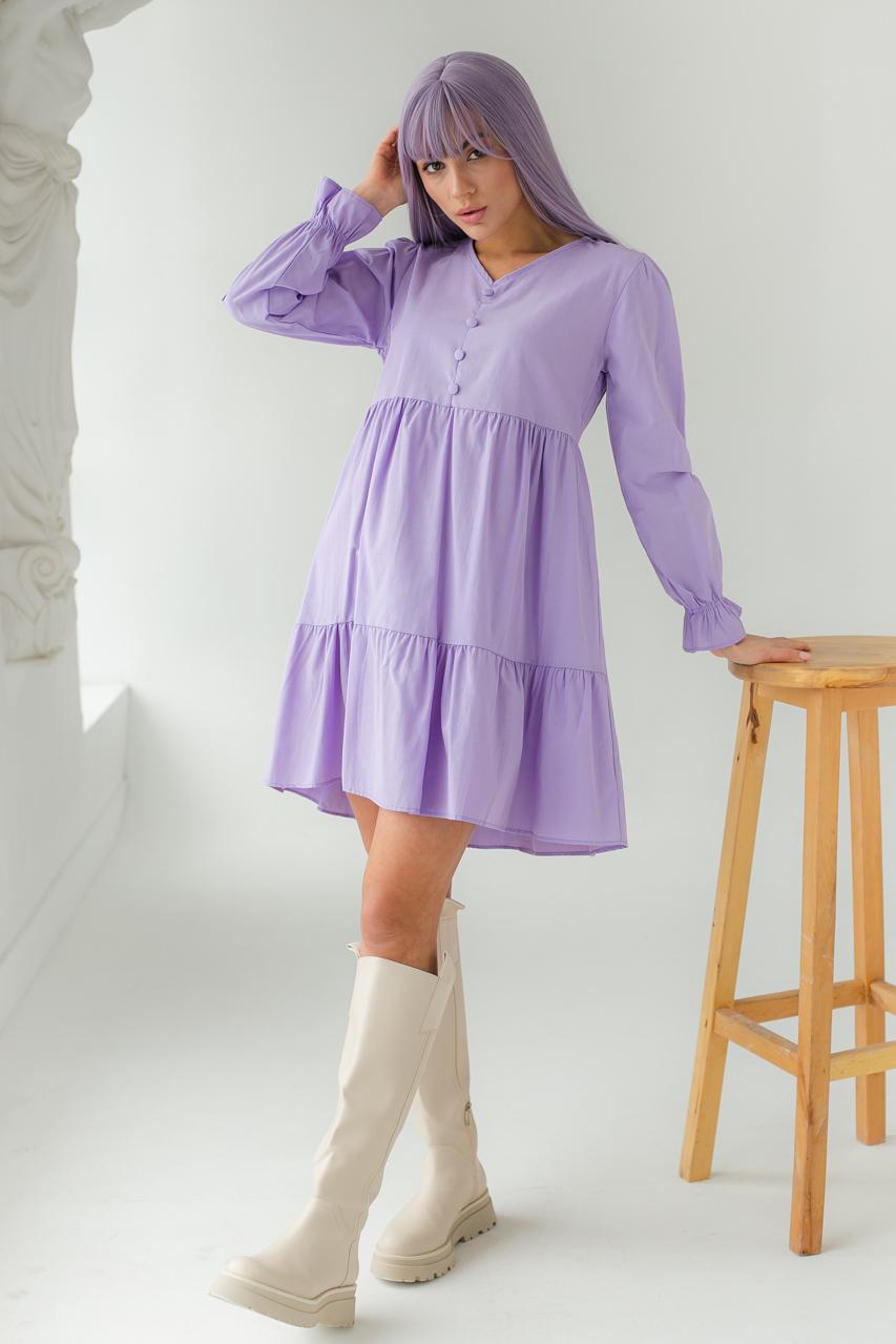Платье свободного силуэта с длинным рукавом  и оборкой по низу GULSELI - лавандовый цвет