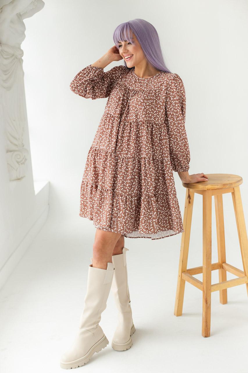 Свободное платье с растительным принтом GULSELI - св-коричн цвет