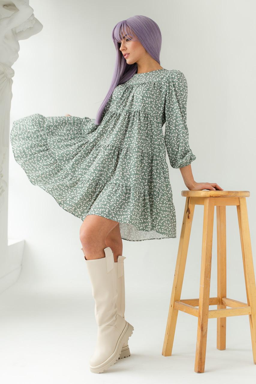 Свободное платье с растительным принтом GULSELI - мятный цвет
