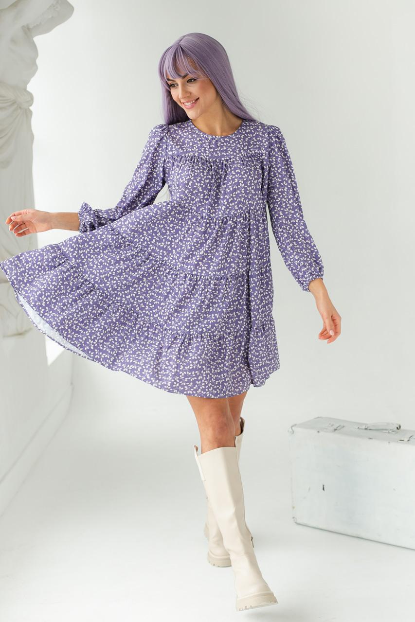 Вільне плаття з рослинним узором GULSELI - лавандовий колір