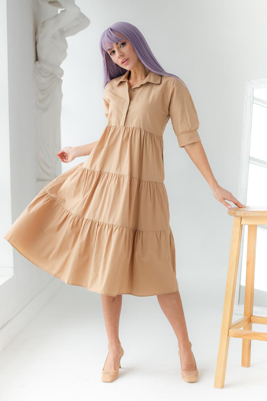 Сукня-трапеція з короткими рукавами GULSELI - гірчичний колір