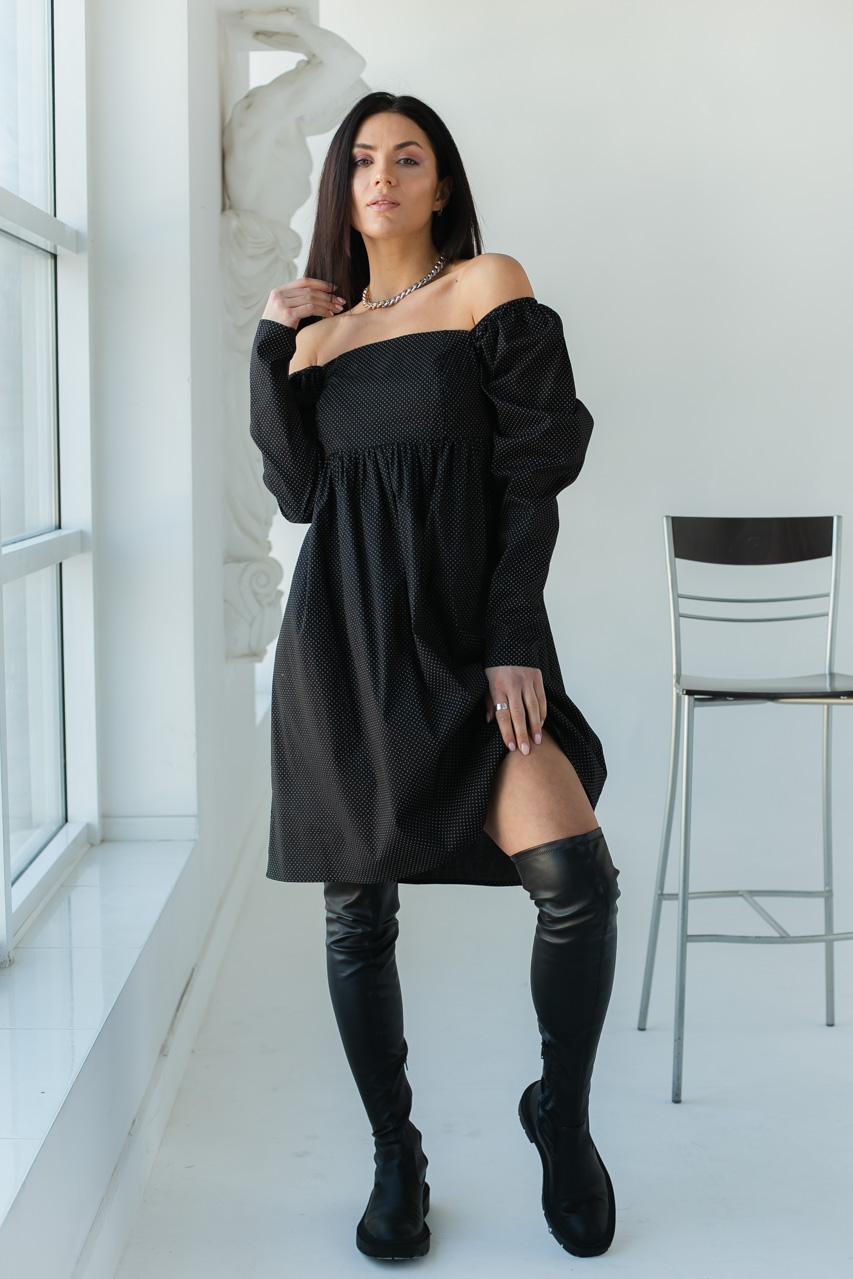Платья в горошек с завышенной талией LUREX - черный цвет