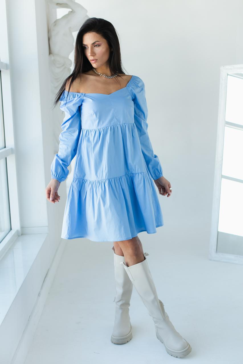 Однотонне плаття з фігурним вирізом і довгими рукавами LUREX - блакитний колір