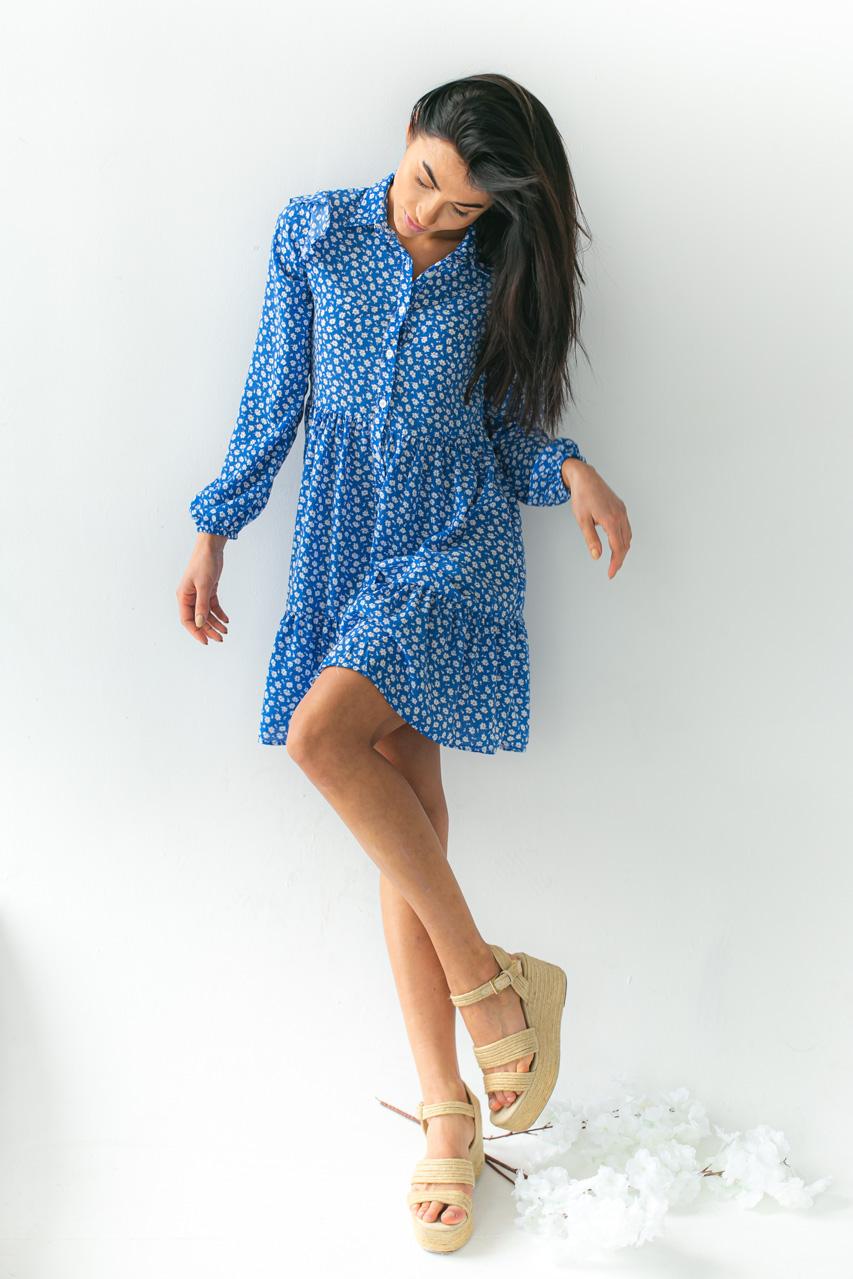 Платье на пуговицах с цветочным принтом GULSELI - синий цвет